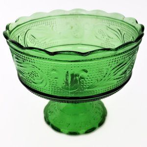 Vintage Green Pedestal Candy Dish Made In USA
